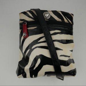 Brighton zebra print crossbody bag coated canvas